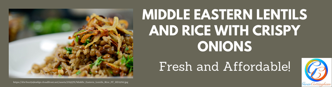 Middle Eastern Lentils & Rice with Crispy Onions